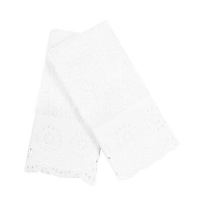 Set 2 Toallas Bordado 2X30X45 Cm Lace Blanco