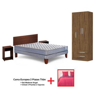 Cama Europea 2 Plazas Titan + Set Plumón Bicolor + 2 Cojines de 2 Plazas + Set Maderas Nogal + Clóset 3 Puertas 2 Cajones