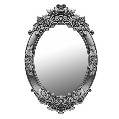 Espejo Vgo Ovalado Antique Silver 62X43X3 Peltre Envejecido