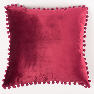 Cojín Velvet con Pompones Cherry 45 x 45 cm