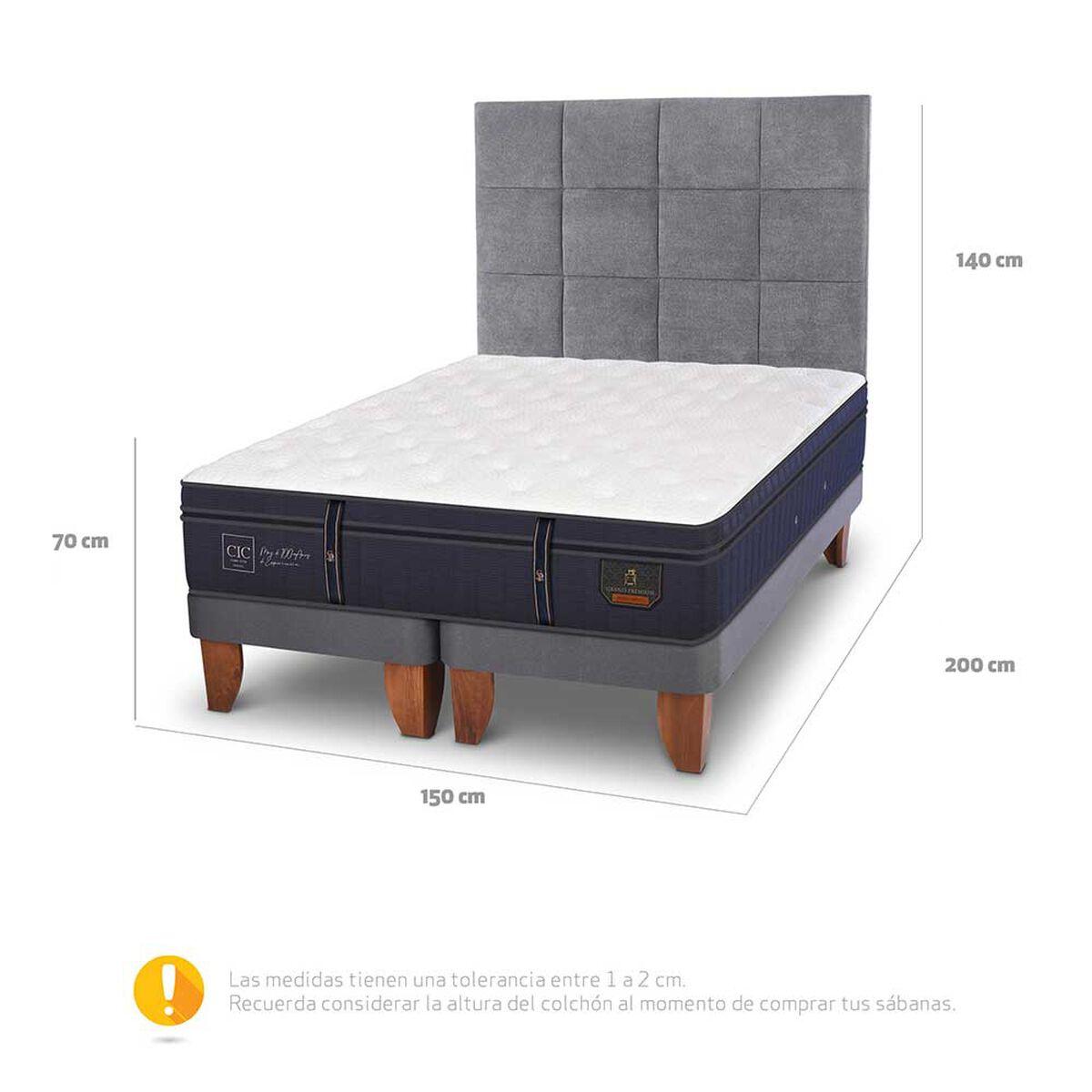 Cama Europea Grand Premium 2 Plazas Base Dividida + Respaldo Tamesis