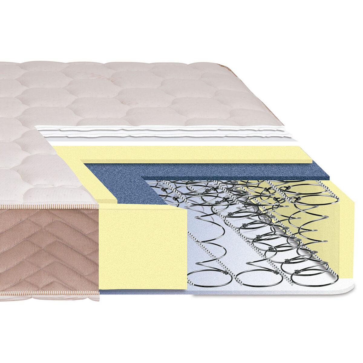 Cama Europea Celta 2 Plazas Base Dividida Bamboo + Textil + Almohadas