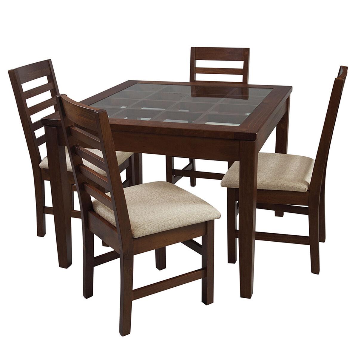 Set Comedor 4 Sillas + Arrimo + Mesa de Centro