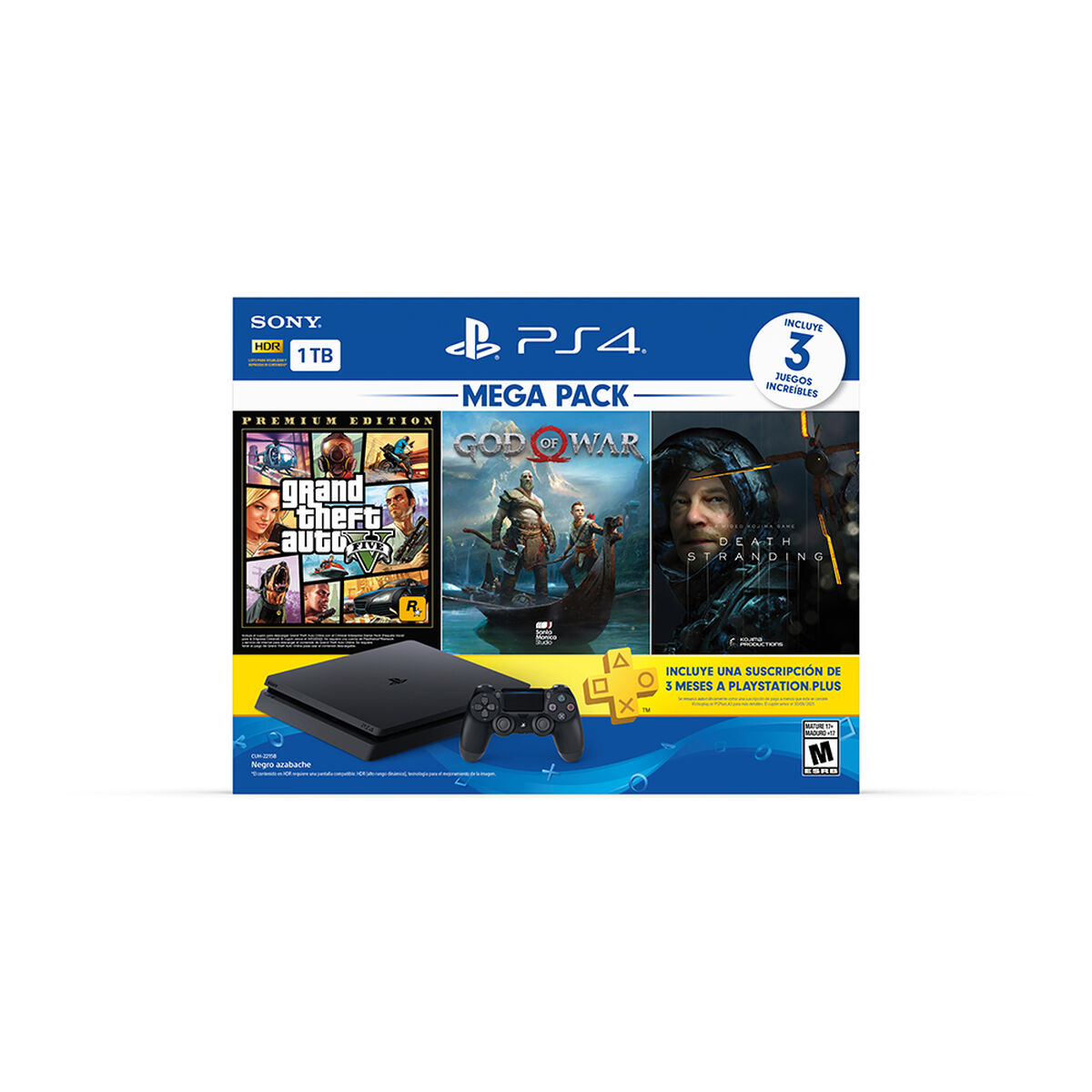 Bundle Megapack 13 Sony PS4 1TB + Control Dualshock + BD God of War + BD Death Stranding + BD Grand Theft Auto V Premium Edition