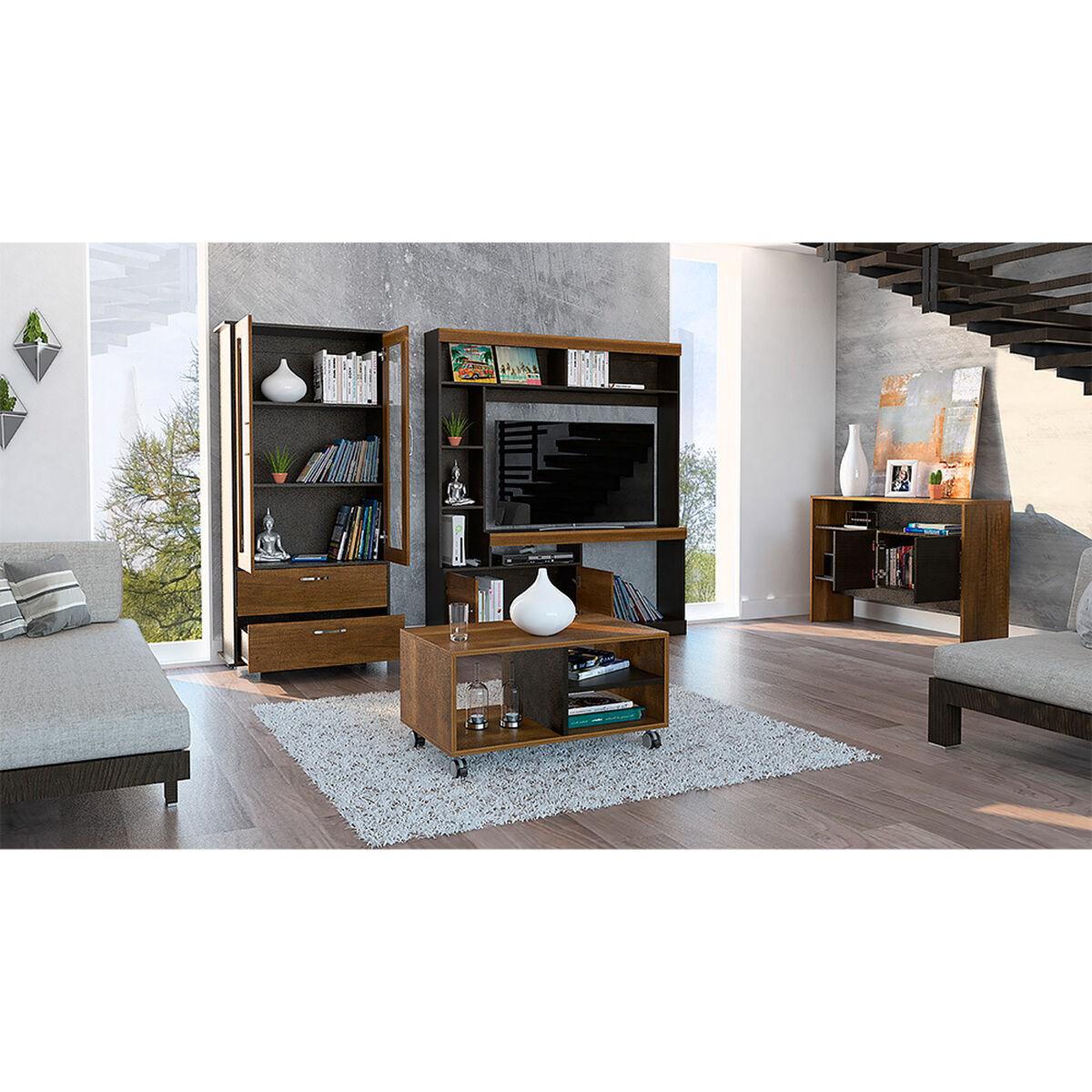 "Rack Tv 58"" + Vitrina + Arrimo + Mesa De Centro Classic Color"