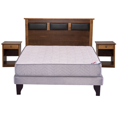 Cama Europea 2 Plazas Therapedic + Set Maderas Toscana