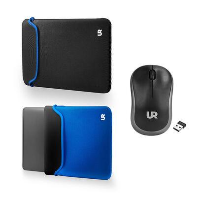 "Kit Funda Reversible para Notebook Urbano 14"" Azul/Negro + Mouse Inalámbrico"