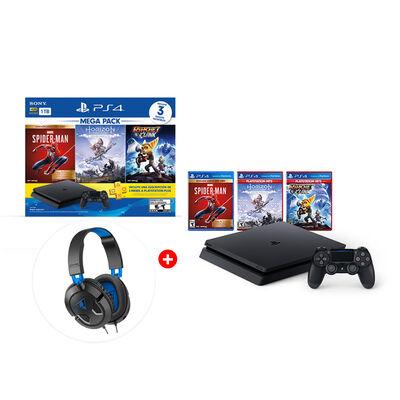 Combo Bundle Megapack 15 Sony PS4 1TB + Control DualShock + Audífonos Gamer Turtle Beach Recon 50P + 3 Juegos de PS4