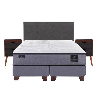 Box Spring Premium 2 Plazas Base Dividida + Mueble + Respaldo Eufrates