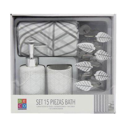 Set Baño 15 Piezas Bath Gris