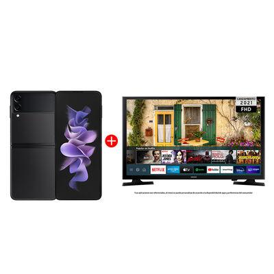 "Combo Celular Samsung Galaxy Z Flip3 5G 256GB Phantom Black + LED 40"" Samsung T5290 Smart TV FHD"
