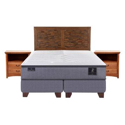 Box Spring Premium 2 Plazas Base Dividida + Mueble + Respaldo Antique