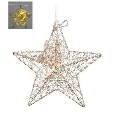 Estrella Deco Dorado Con Luz Santini