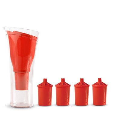 Jarro Purificador de Agua + 4 Repuestos de Filtro Dvigi Rojo