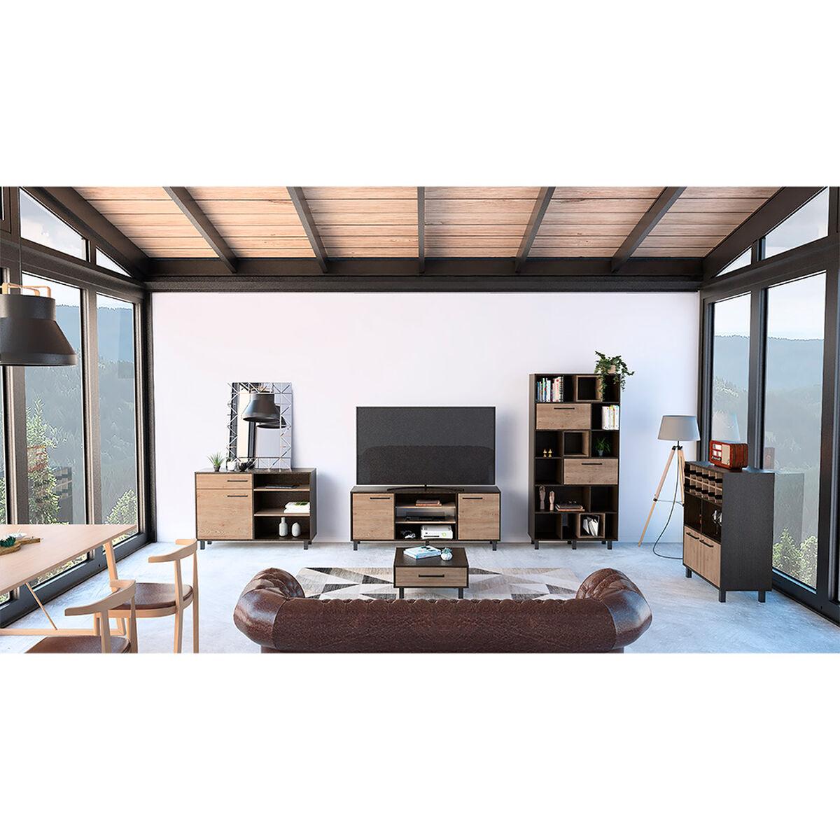 """Rack Tv 65"""" + Biblioteca + Bar + Bife + Mesa Centro Kaia"""