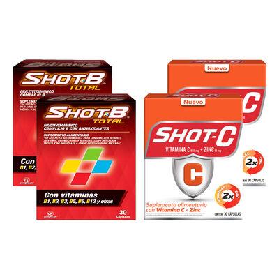 Pack 02 Multivitamínico Shot B + 02 Suplemento Shot C