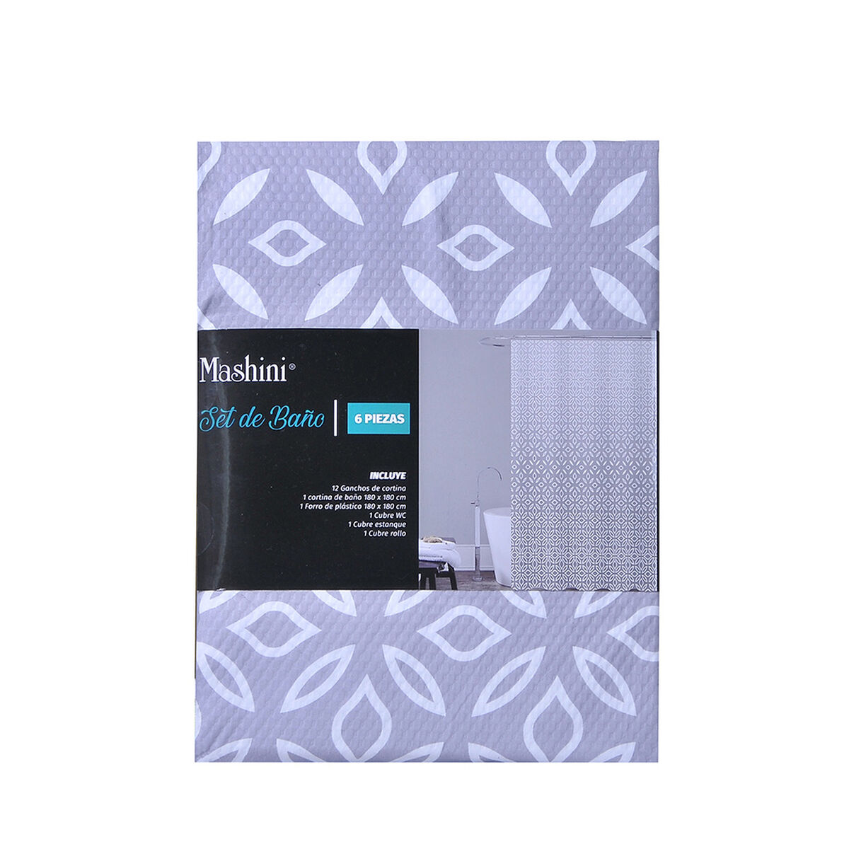 Set Cortina de Baño 6 Piezas Mashini Origami