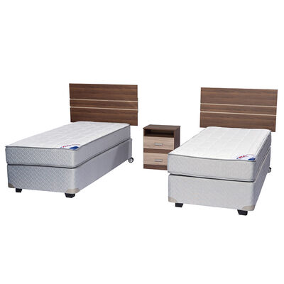 Doble Box Spring Therapedic 1 Pl Flex + Muebles Milano
