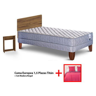 Cama Europea 1,5 Plazas Titan + Set Plumon Bicolor + 2 Cojines de 1,5 Plaza + Set Madera Nogal