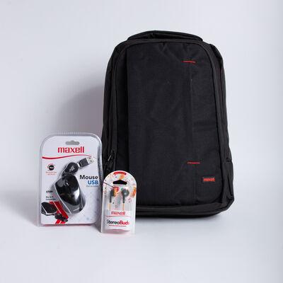 "Kit Maxell Mochila Notebook 15,6"" + Audífonos + Mouse Retráctil"
