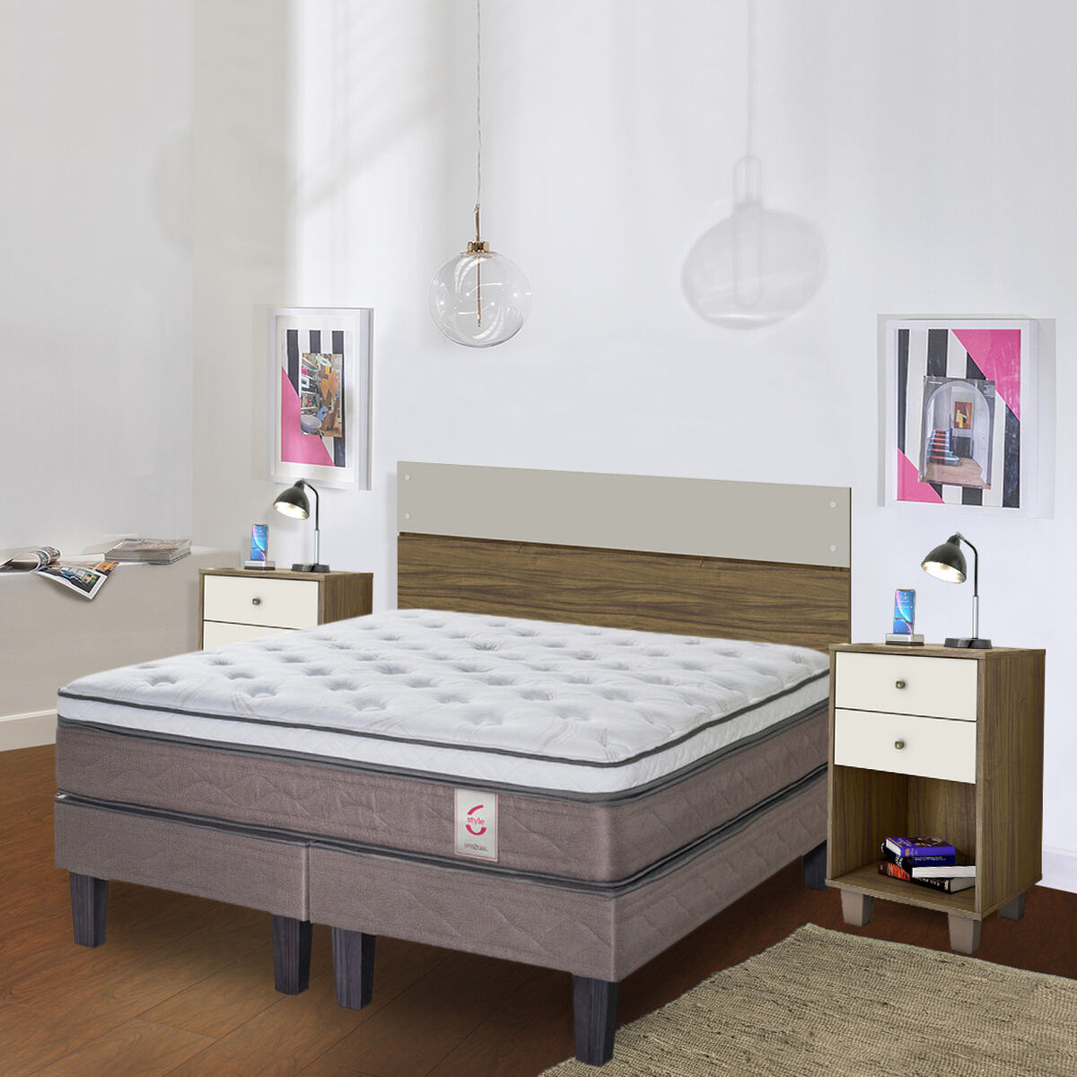 Combo Cama Europea Rosen Base Dividida 2 Plazas New Style 6 + Set Maderas Combinare Nogal