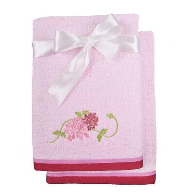 Set 2 Toallas Natura/Caja Rosado Rosa