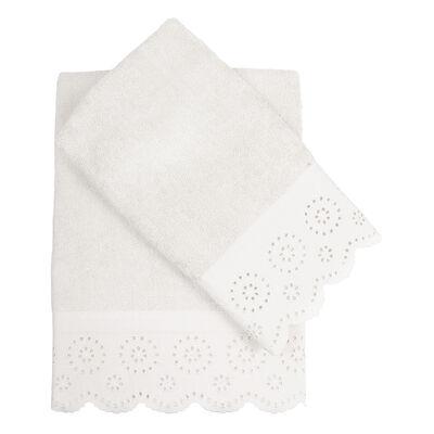 Set 2 Toallas Bordado 45X90 - 70X140 Cm Lace Blanco