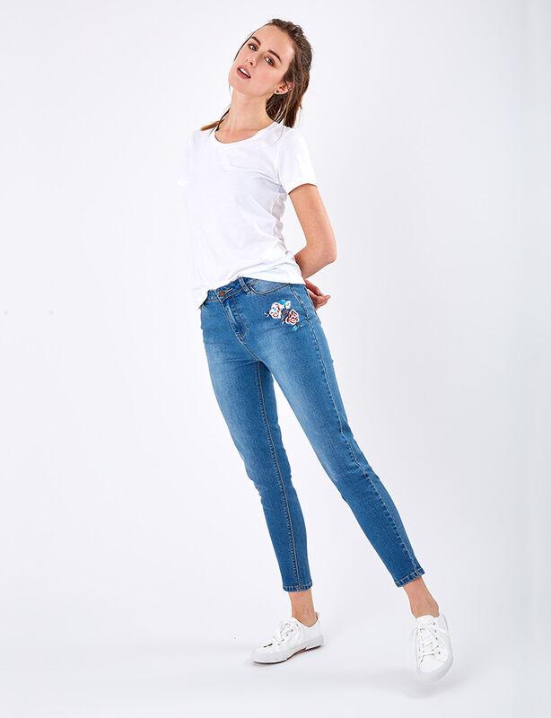Jeans Flor Bordado Zibel