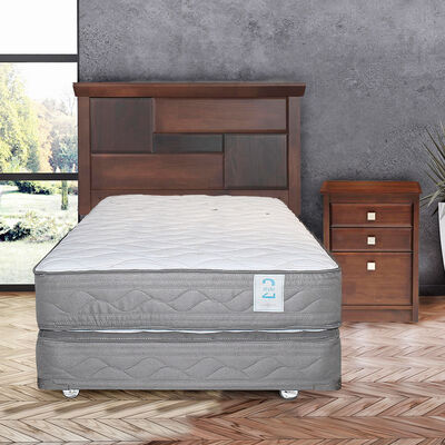 Box Spring 1,5 Plazas New Style 2 + Set Maderas Doménico