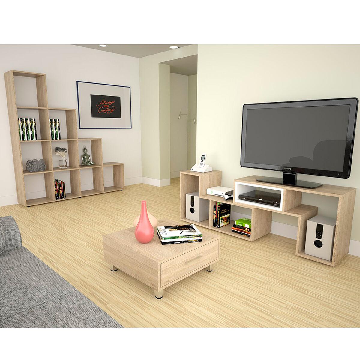 Rack TV Extensible + Biblioteca + Mesa de Centro TuHome