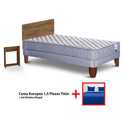 Cama Europea 1,5 Plazas Titan + Set Plumón Bicolor + 2 Cojines de 1,5 Plazas + Set Madera Nogal