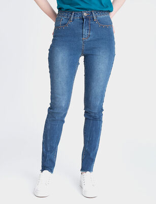 Jeans Indigo Mujer Fiorucci Push Up Tachas
