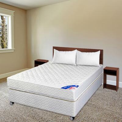 Cama Americana Flex 2 Plazas New Entree + Set Maderas Casanova Nogal + Pack Almohadas Celta Imperial Soft 45x65 cm