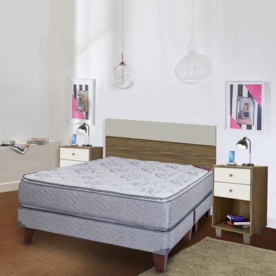 Cama Europea Celta 2 Plazas Base Dividida Terapeutic + Respaldo Zibel Combinare Nogal / Off White + 2 Velador Casanova Combinare Nogal 2 Cajones