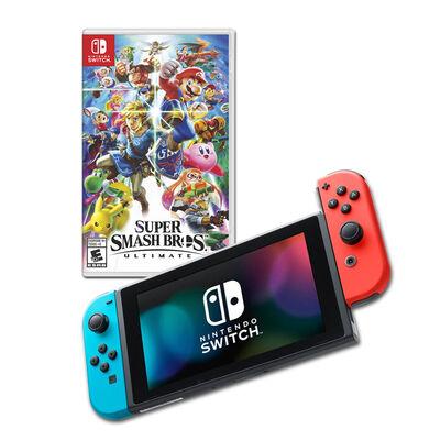 Nintendo Switch Neón + Switch Super Mario Party + Mario Super Smash Bros