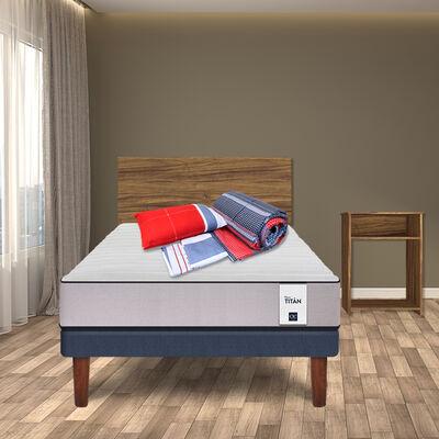 Combo Cama Europea CIC 1,5 Plazas New Titán + Set Maderas Nogal + Set Textiles