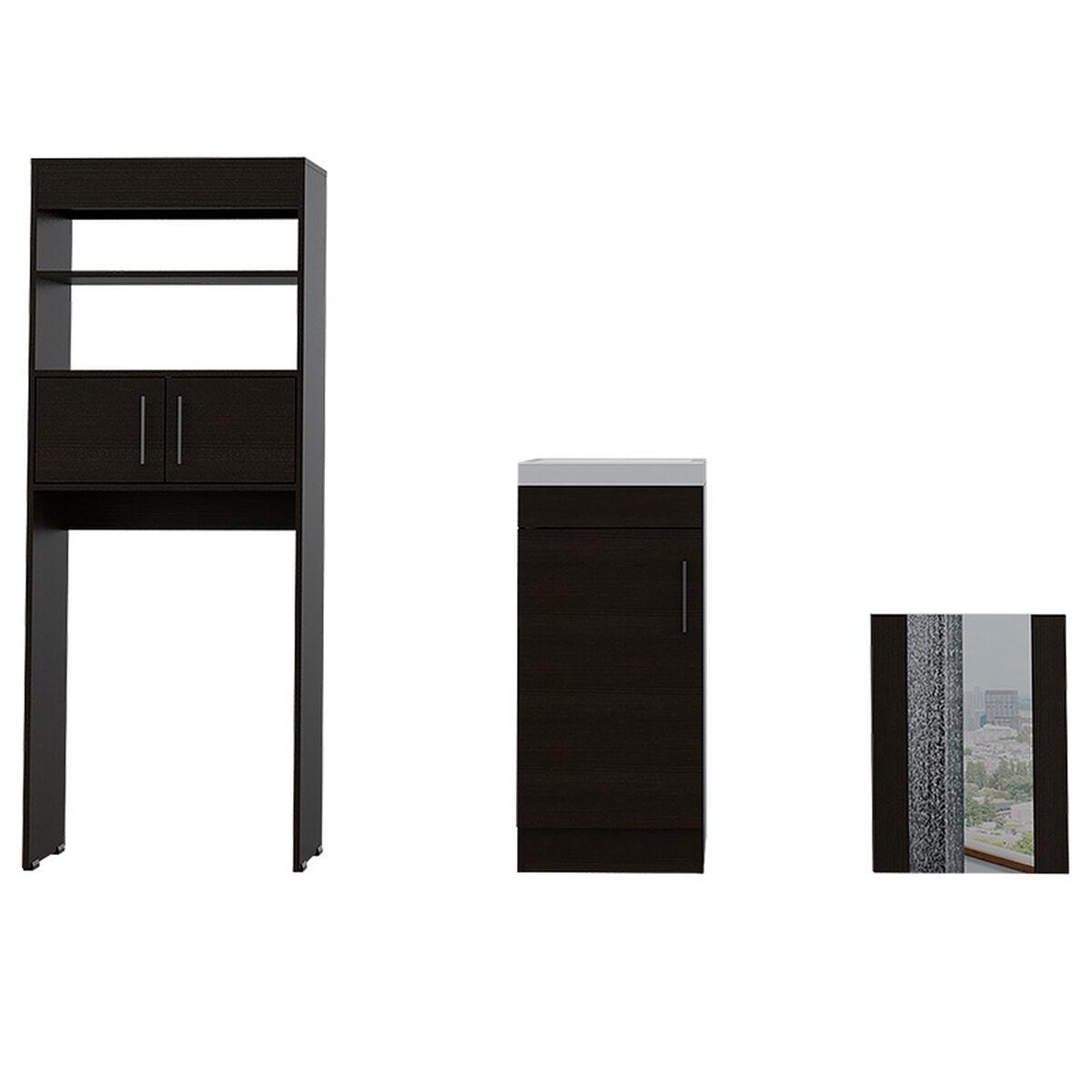 Set Muebles Auxiliar + Lavamanos + Espejo Flotante