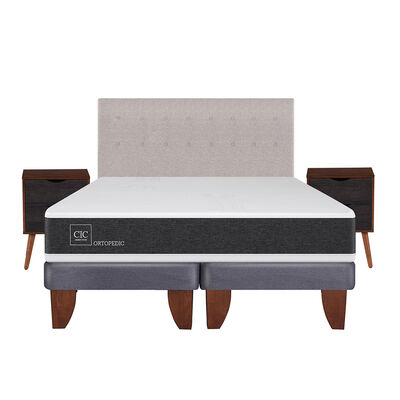 Cama Europea Ortopedic King Base Dividida + Mueble + Respaldo Tigris