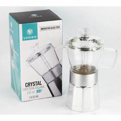 Cafetera de Vidrio Borosilicato y Aluminio Vitrex Crystal + 9 Tazas