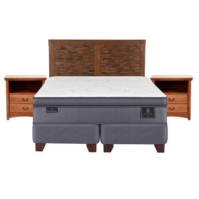 Box Spring Super Premium 2 Plazas Base Dividida + Mueble + Respaldo Antique
