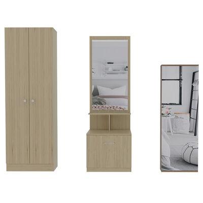 Set Clóset + Zapatero con Espejo + Velador Multifuncional