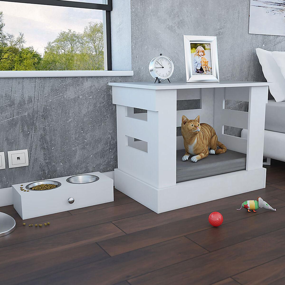 Velador Cama para Mascotas + Platos Hound TuHome