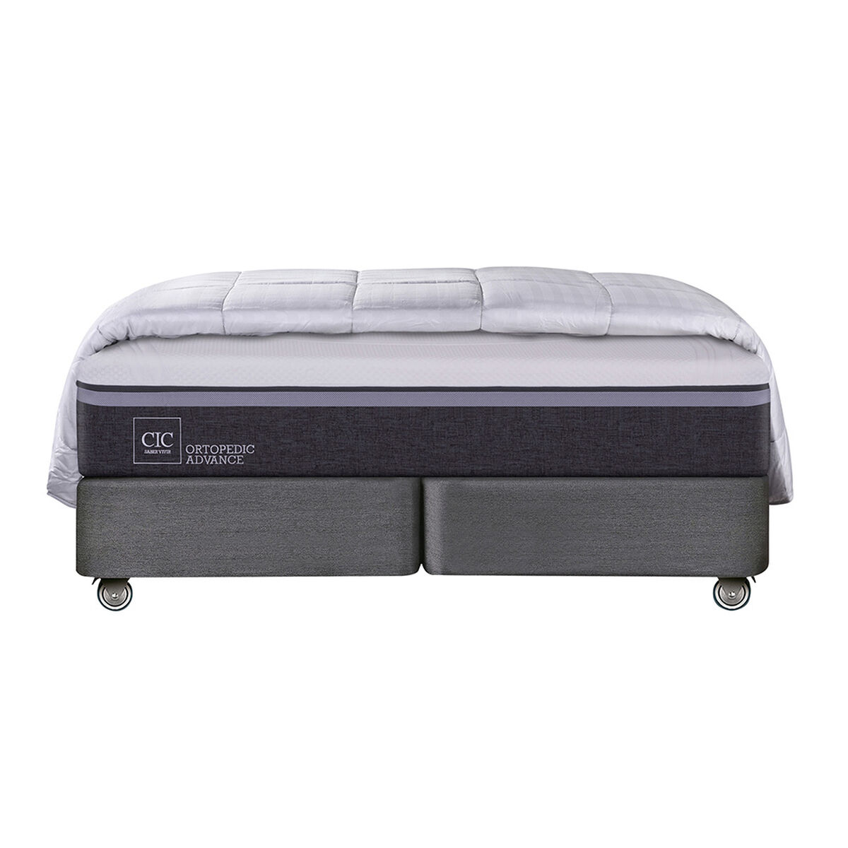 Box Spring CIC Base Dividida King Ortopedic Advance + Plumón