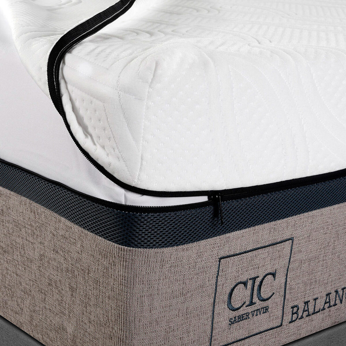 Box Spring CIC Balance King + Set Maderas New Atlanta