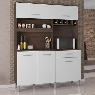 Mueble de Cocina Cristo Blanco-Café 5 Puertas 5 Cajones