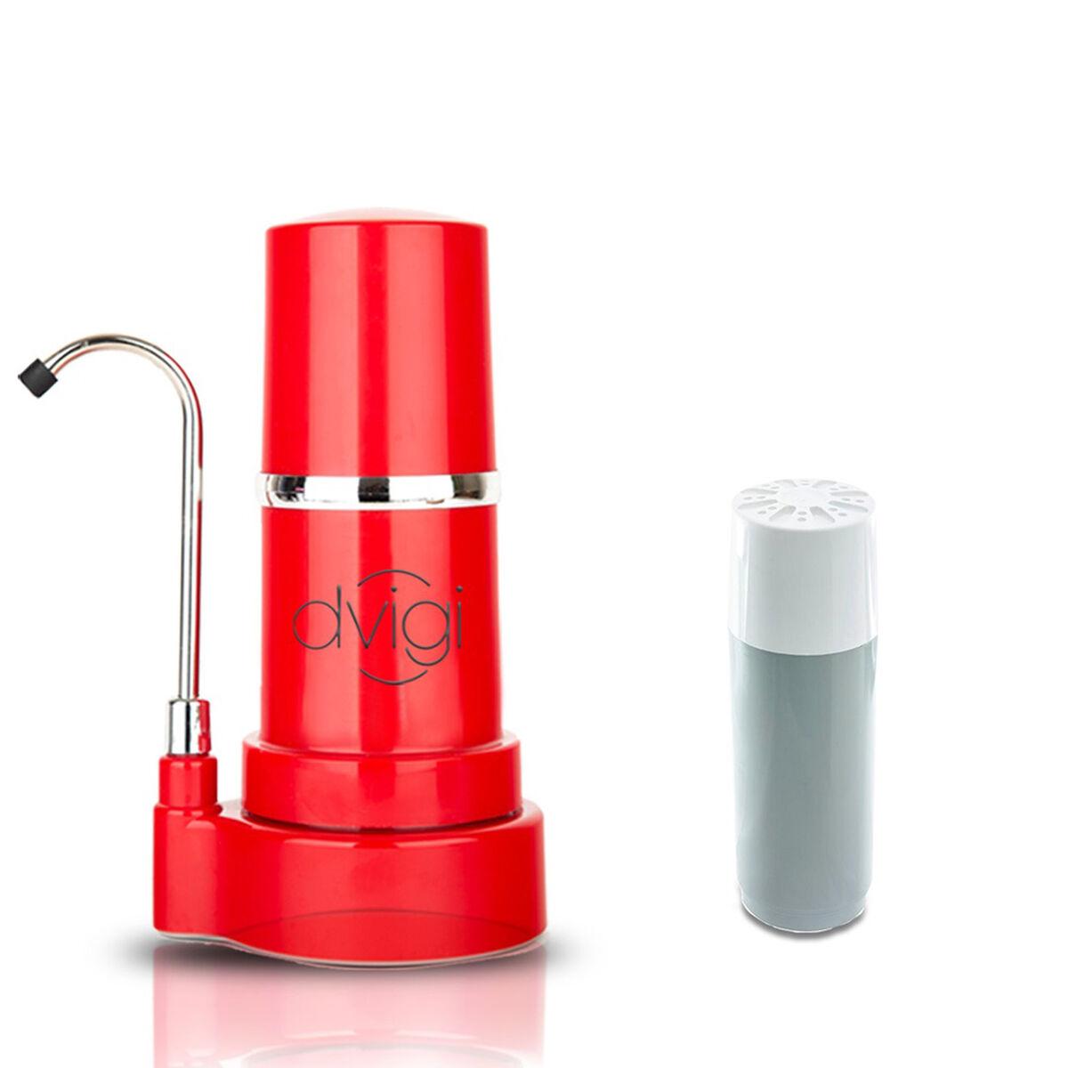 Purificador de Agua Filtro Sobre Cubierta + 1 Filtro de Repuesto Dvigi Rojo