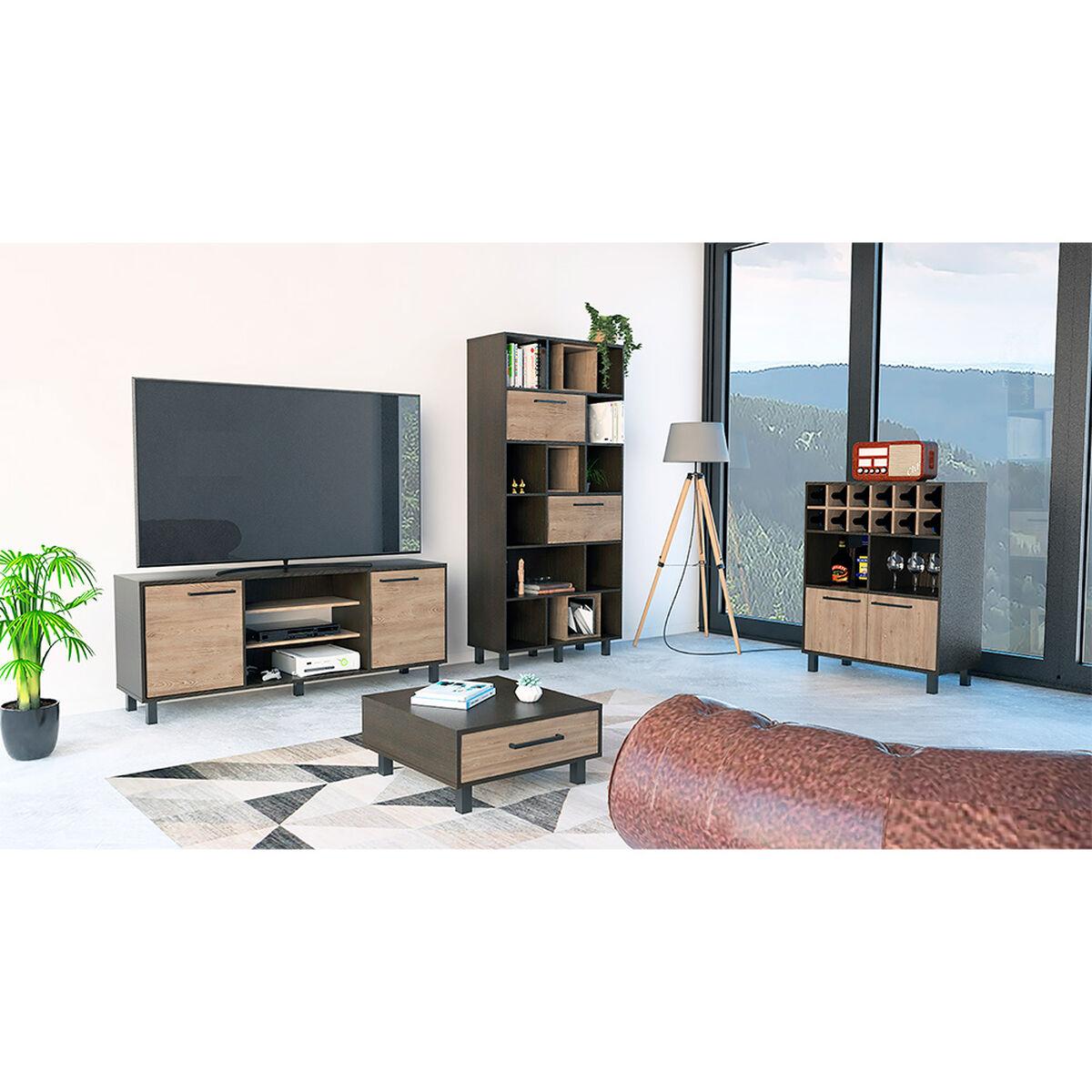 "Rack Tv 65"" + Biblioteca + Bar + Mesa Centro Kaia"