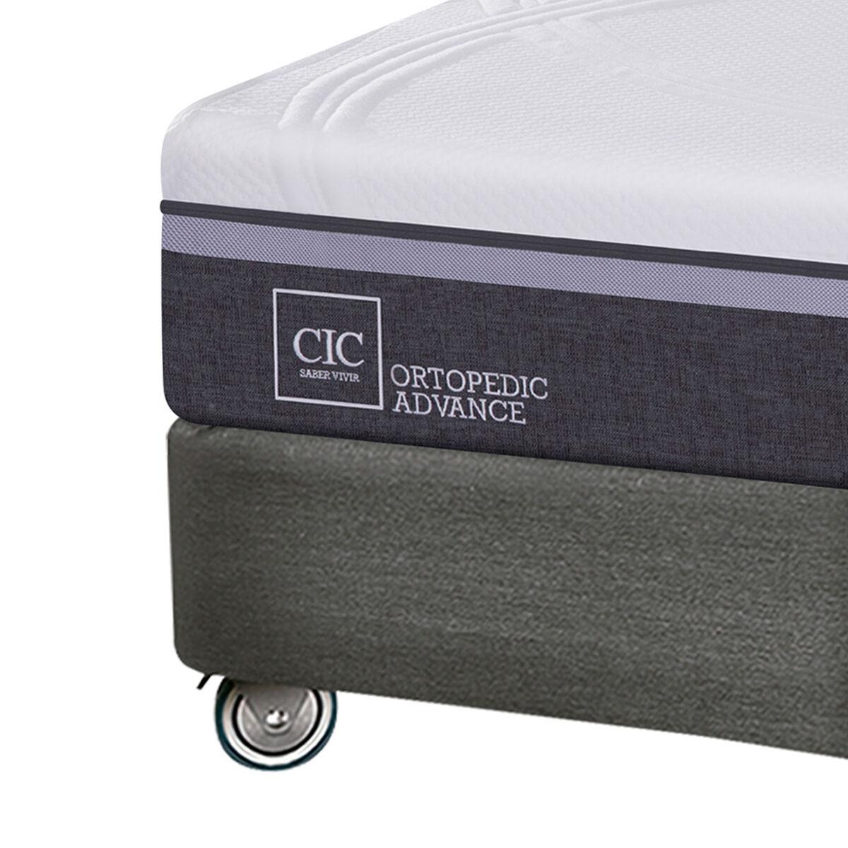 Box Spring CIC Base Dividida King Ortopedic Advance + Plumón + Almohadas