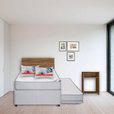 Diván 1,5 Plazas Flex Therapedic  + Set Maderas Nogal + Pack Almohadas Imperial Soft 45x65 cm