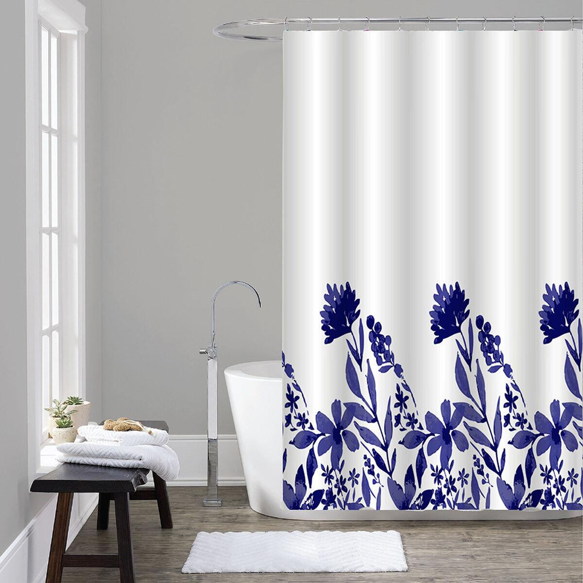 Set Cortina 7 Piezas Caja Mashini Flores Azules